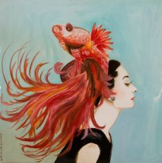 """""""Audrey With Beta Hat"""" 24 x 24"""