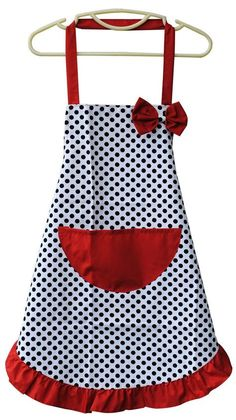 Apron Blue Denim with Red &amp