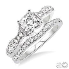 3/4 Ctw Diamond Wedding Set with 1/2 Ctw Princess Cut Engagement Ring and 1/5 Ctw Wedding Band in 14K White Gold