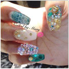 Under the sea ocean beach seashells glitter coffin ballerina nails