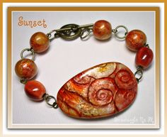 Beaded Bracelet Golden Sunset Swirl, handmade polymer clay jewelry available in my Etsy Shop