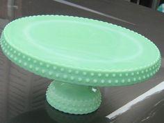 "Vintage L.E. Smith Jadeite Jade Hobnail Marble Swirl Cake Plate Stand 11"""