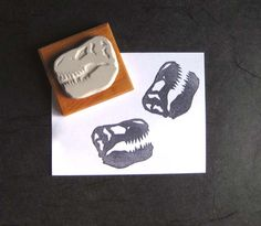 T. Rex Skull - Hand-Carved Stamp by extase on Etsy https://www.etsy.com/listing/65452992/t-rex-skull-hand-carved-stamp