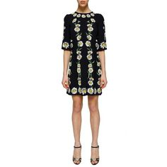 Dolce and Gabbana 'Daisies' Print Silk Dress (5.940 RON) ❤ liked on Polyvore featuring dresses, multicolor, daisy dress, white silk dress, zipper back dress, short silk dress and daisy-print dress