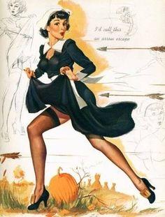Alberto Vargas Pin up Vintage Thanksgiving, Happy Thanksgiving, Pin Up Girls, Modelos Pin Up, Pin Up Mermaid, Vargas Girls, Mod Girl, Pin Up Posters, Pin Up Art