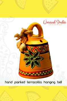 This hanging bell is made of terracotta, brought to you from Uttar Pradesh and decorated with the Warli art, native to the tribals of Maharashtra. Pottery Painting Designs, Paint Designs, Traditional Wind Chimes, Clay Crafts, Arts And Crafts, Wall Decor, Room Decor, T Lights, Diwali Decorations