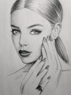 #nails #art #sketch #drawing #makeup #hair #beautiful pencil portrait of a model :)