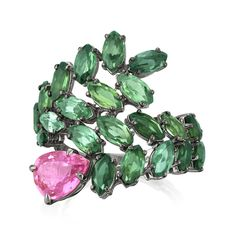 Amsterdam Sauer Flora Ring with Pink Sapphire and Green Tourmaline from the Garden Party Collection