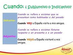 Cuando + indicativo vs cuando + subjuntivo Spanish Lessons, Teaching Spanish, Latina, Learning, Gift, Vocabulary, Writing, Verb Tenses, Foreign Language