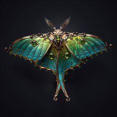 Juwel moth by Melaamory on DeviantArt Beautiful Bugs, Beautiful Butterflies, Arte Fashion, Flora Und Fauna, Bijoux Art Nouveau, Elfa, Merian, Art Anime, Bugs And Insects