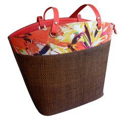 Bolsa em Palha com Estampa Floral Superior Laranja, bolsa grande para praia ou cidade, combina com vários looks, versátil. Laranja