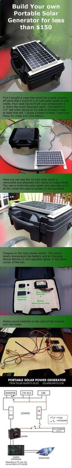 How To Build Your Own Solar Power Generator For Under $150 outdoors camping diy diy ideas easy diy tips technology life hacks life hack camping hacks solar power survival emergencies #outdoordiycamping #survivallifehacks #survivaltips