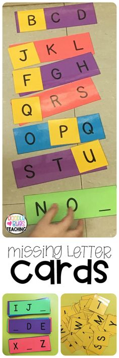 """This is a set of missing letter cards that include what comes after, before and in between. Upper and lowercase letters are included. Also included are """"answer cards"""" but you can easily use magnetic letters for the missing letters. You can also number the cards you want to use and use them with a recording sheet for students to write the answer. Write the answer on the back and let students use them with a partner as flash cards. Lots of choices! These are black and white- made to be prin"""
