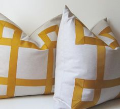 Set of Two - Marigold Yellow - Ribbon Pillow Covers -  22  inch - Decorative Pillow Covers  - Euro Shams - ready to ship