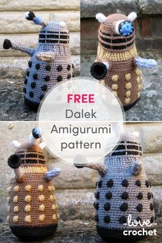FREE Dalek Amigurumi Pattern! Doctor Who fan? Why not try and crochet your own 1970s grey and black Dalek or a bronze and gold new series Dalek? Find the free pattern on LoveCrochet.com