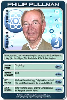 Philip Pullman The Amber Spyglass, His Dark Materials Trilogy, Philip Pullman, Trump Card, Atheism, A Good Man, Card Games, Storytelling, Writer