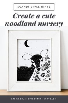 This doe nursery print is perfect if you want a Scandinavian nursery. It's also a beautiful gender neutral baby shower gift! Goes great with a woodland nursery theme.   Easy to print, very high quality artwork that. Available to download straight away.