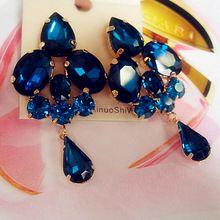 2014 moda jóias flor azul cristal jóia artificial patchwork senhoras sexy grandes brincos de ouro para as mulheres(China (Mainland))