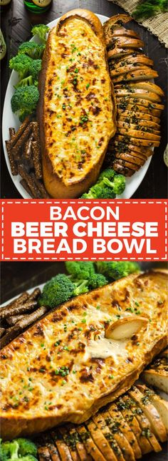 Bacon Beer Cheese Bread Bowl. A flavorful, fondue-like beer cheese studded with crumbled bacon is baked inside of Italian bread and served with garlic and herb crispy bread slices. It's the perfect easy-to-make snack for your Super Bowl party. | http://hostthetoast.com