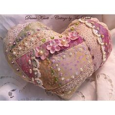 pincushion sachet heart by Diane Knott for Cottage by The Pond Etsy Shop