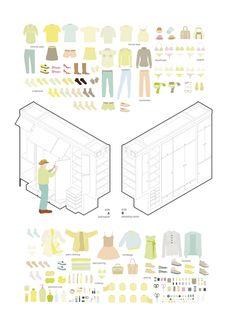 PKMN | All I Own House | Madrid, España | 2014 | A través de un cuidadoso diseño, hecho totalmente a medida, y de la combinación del trabajo de carpintería con el uso de un sencillo sistema de guías industriales, se organiza todo el espacio servidor de la casa mediante tres contenedores de madera OSB suspendidos, móviles y transformables.