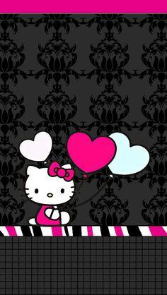 Hello Kitty Bed, Hello Kitty My Melody, Hello Kitty Themes, Hello Kitty Pictures, Unicornios Wallpaper, Butterfly Wallpaper, Cellphone Wallpaper, Wallpaper Iphone Disney, Black Wallpaper