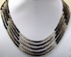 Top quality 3.50 mm Natural SMOKEY QUARTZ Shaded 13.5 inch AAA roundel beads faceted gemstone...