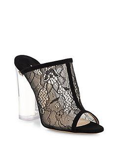 Paul Andrew Celeste Lucite-Heel Lace & Suede Peep-Toe Mule Sandals