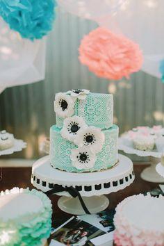 Mint Anemone wedding cake ~ www.onefabday.com