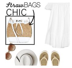 """Fashion summer"" by tshainafashion ❤ liked on Polyvore featuring Elizabeth and James, H&M, Calypso Private Label, STELLA McCARTNEY, New Look and strawbags"