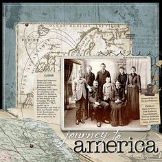 Journey to America... wonderful heritage layout. Great idea, since my folks came separately could put pics of them on the same page or dbl spread and lift their pic with their emigration story underneath.