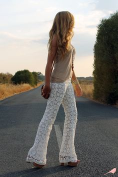 @María Gamero Rueda, from www.ohmarikilla.es blog, is wearing our crochet bell pants. ☮ She gives a hippy touch to her outfit! ☮ Stunning!  Bell pants: http://www.ladymarshmallow.com/ficha_modelo.php?id=65