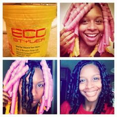 Pink and orange Curlformers on Natural Hair: My First Impression