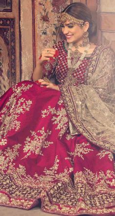 What is a Pakistani wedding dress if not red in color? Red has always been the most sought out color for a Pakistani wedding dress. This beautiful red Lehenga is a perfect bridal wear for a traditional bride. Pakistani Wedding Outfits, Indian Bridal Outfits, Pakistani Wedding Dresses, Indian Dresses, Eid Dresses, Latest Bridal Dresses, Indian Bridal Wear, Designer Bridal Lehenga, Bridal Sari