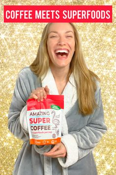 Amazing Super Coffee is a delicious blend of premium french roast coffee and 12 essential superfoods. Drop pant-sizes, boost immunity, and enhance brain power with Amazing Super Coffee. Coffee Pack, Coffee K Cups, Get Healthy, Healthy Snacks, Healthy Eating, Keto Recipes, Cooking Recipes, Healthy Recipes, Superfood Recipes