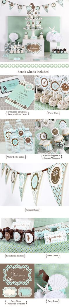 Beach Bridal Shower Decorations Banner Ideas Favor by ModParty