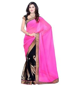 Pink and Black half saree model