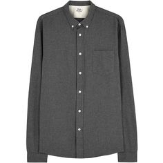 Acne Studios Grey Flannel Shirt (2715 MAD) ❤ liked on Polyvore featuring tops, shirts, button down collar shirts, flannel shirts, shirts & tops, grey flannel shirt and gray top