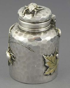 Tiffany mixed metal applied aesthetic traveling inkwell