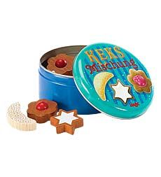 Haba Wooden Foods in Tiny Tins- these are not good for small kids b/c they really are TINY, but for us, these are perfect- they don't take up much room at all and are perfectly sized for play cups and plates.  I wish they had English on the tins as well, but the German is a bit of a language lesson and rather neat :)