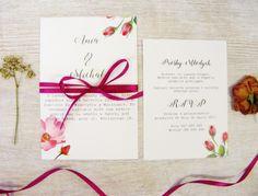Zaproszenia ślubne botaniczne Dzika Róża z kopertą