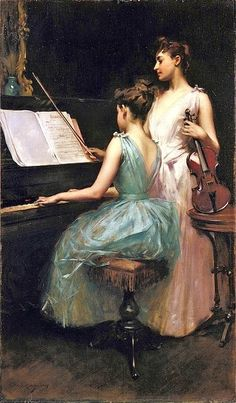 Irving Ramsey Wiles (American painter, 1861–1948) The Sonata 1889. Saw this in the De Young