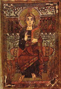 feuillet enluminé de l'Évangéliaire de Godescalc, 781-783. BNF