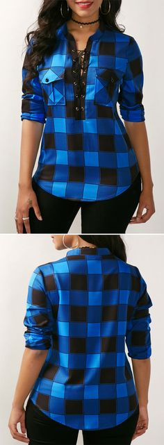 Curved Plaid Print Lace Up Front Blue Blouse. Soooo my colour! Fall Outfits, Casual Outfits, Cute Outfits, Fashion Outfits, Womens Fashion, Trendy Tops For Women, Looks Cool, Mode Style, African Fashion