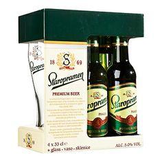 Staropramen Cerveja Checa Pack 4 + Copo garrafa 33 cl
