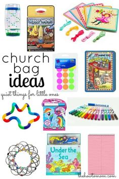 Quiet bags for church, appointments, car rides, etc is part of children Activities For Church - Want a peaceful church experience with kids Here are a few tips and ideas of items to put in your church bag (or purse!) to keep kids quiet and occupied Quiet Time Activities, Church Activities, Indoor Activities, Summer Activities, Family Activities, 15 Month Old Activities, Busy Bags, Kids Bags, Activity Bags