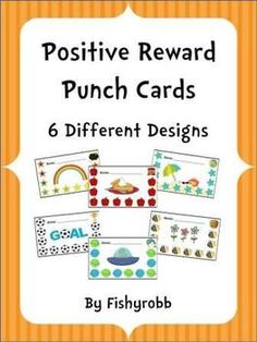 6 different punch cards for positive rewards and behavior management  @Amy Lyons Lyons Lyons Lyons Lyons Lyons Dugan...this is better than red, yellow, green.
