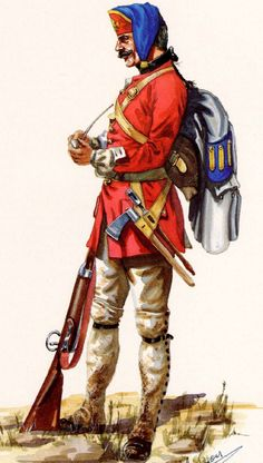 French; Infantry Regiment Sarre, Corporal in Summer Campaign Dress 1756-60 by R.J.Marrion
