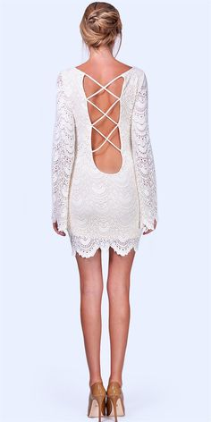 For the edgy bride!  Spanish Lace Priscilla Dress - Ivory by Nightcap