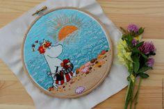 Купить Муми-мама и море - Вышивка гладью, море, Муми-тролль, голубой, вышивка ручная